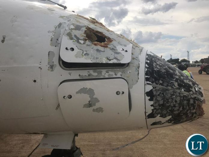 Bombardier Dash 8 Turbo prop aircraft after surviving the hailstorm