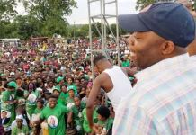 Bowman Lusambo addressing a PF rally in Kabushi on Saturday