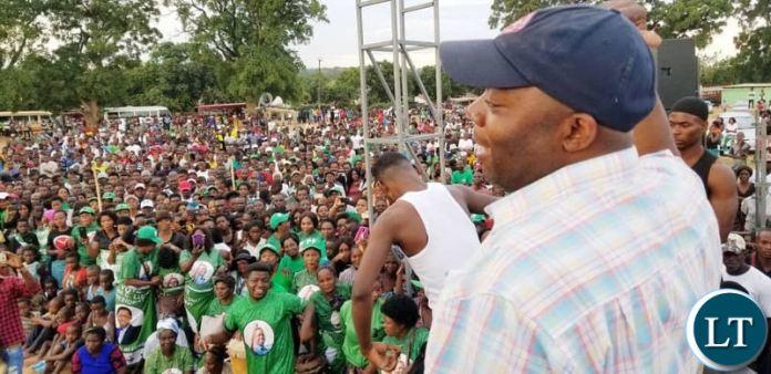 Bowman Lusambo addressing a PF rally in Kabushi on Saturday