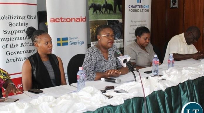CSOs holding a conference on the Lower Zambezi Mining Saga