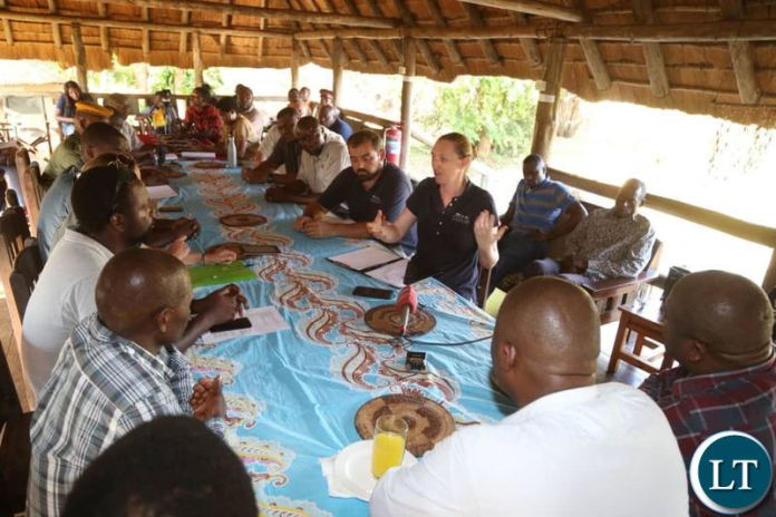 Lusaka Province Minister Bowman Lusambo meeting with local stakeholders in the Lower Zambezi