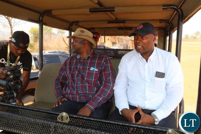 Lusaka Province Minister Bowman Lusambo on a game drive in the Lower Zambezi with Lusaka Province Deputy Permanent Secretary Frazier Musonda