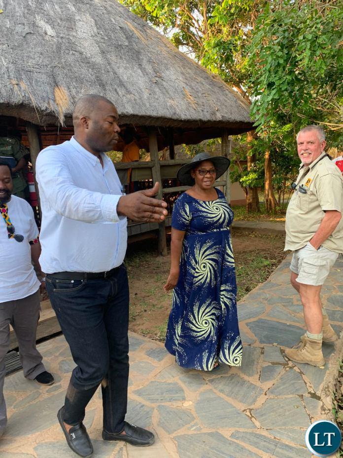 Lusaka Province Minister Bowman Lusambo with Chieftainess Chiawa in the Lower Zambezi