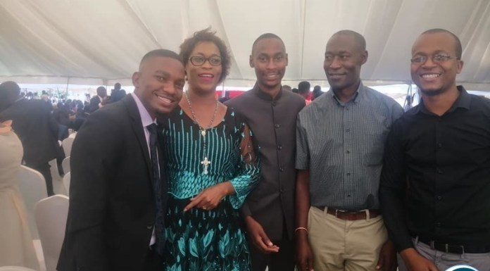 Deputy Secretary General of the Patriotic Front with her son Chifuka Phiri( To her left) at the Doctors Graduation Ceremony at University of Zambia Ridgeway campus