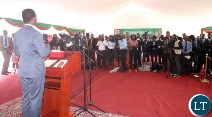 President Lungu addressing the Press