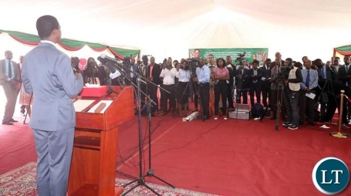 President Lungu addressing the Press