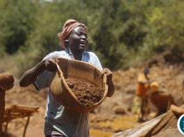 Woman at a small Mining Site