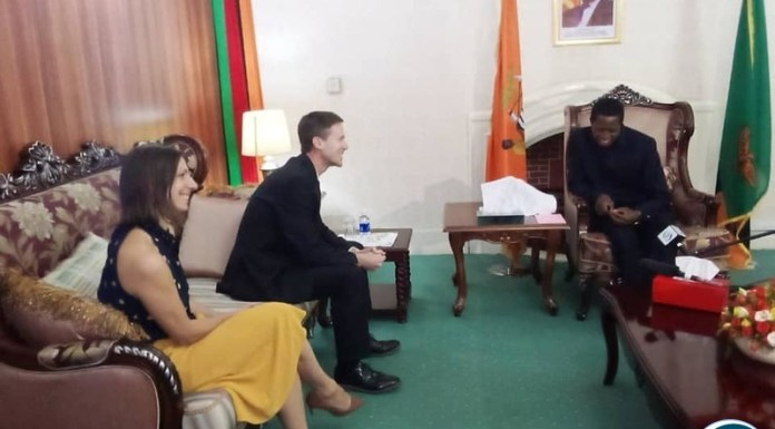 British High Commissioner to Zambia HE Nicolas Wooley and DFID Representative Ememeline Dicker were paying a courtesy call on His Excellency President Edgar Lungu.