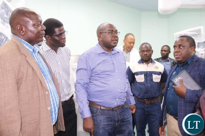 Health Minister Dr. Chitalu Chilufya in the company of Muchinga Province Minister Malozo Sichone and Chinsali Lawmaker Kalalwe Mukosa inpecting the works at the newly built Chinsali General Hospital