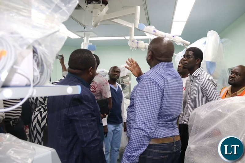 Health Minister Dr. Chitalu Chilufya in the company of Muchinga Province Minister Malozo Sichone and Chinsali Lawmaker Kalalwe Mukosa inpecting the works at the newly built Chinsali General Hospital