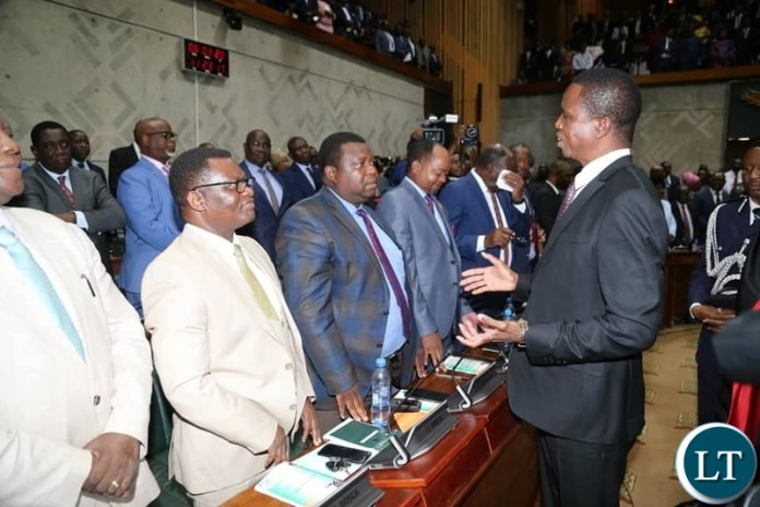 President Lungu Greeting UPND Opposition MPs