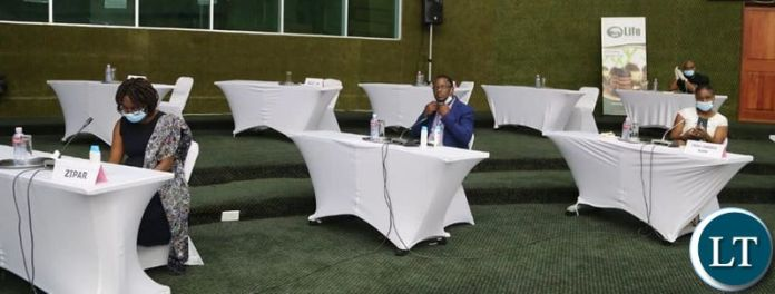 Social Distancing being observed at Mulungushi International Conference Center where the Minister of Finance Hon. Dr. Bwalya Ng'andu MP, was addressing members of the press on Developments in the Global and Domestic Economy.