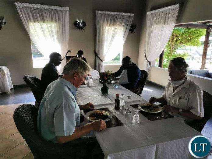 President Lungu and his team having lunch at Chrisma hotel