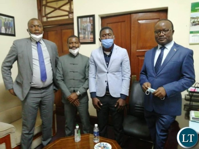 Lusaka Province Minister Bowman Lusambo and Bflow with the Presidential Press Aide Mr Isaac Chipampe and the Political Advisor Mr Chris Zumani Zimba