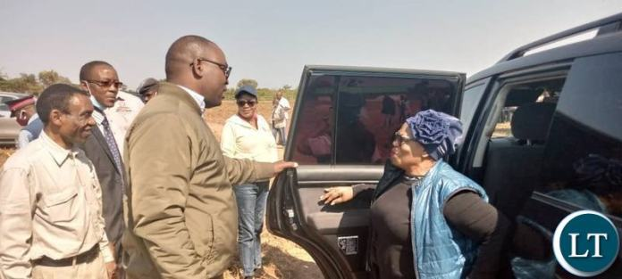 Livestock and Fisheries Minister Professor Nkandu Luo being Welcomed by Lunte Member of Parliament Hon Mutotwe Kafwaya at the Livestock handover Ceremony
