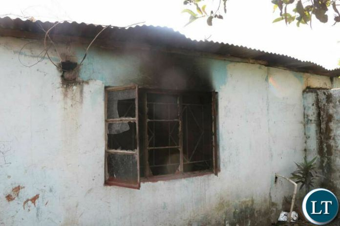 UPND Muchinga ward 24 Trustee Peter Kalyata's petrol bombed house