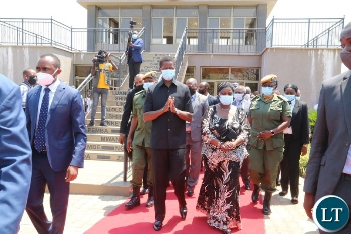 President Edgar Lungu with First Lady Esther Lungu leaving the embassy park shortly after memorial service for the late President Sata at Embassy park. Wednesday, October 28, 2020.Picture By ROYD SIBAJENE/ZANIS