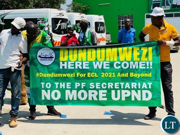 Dundumwezi district of Southern Province's solidarity Banners at display at PF Headquarters in Lusaka