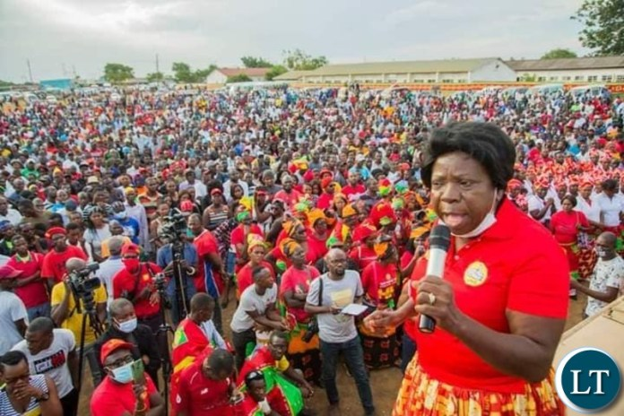 UPND Chairperson Ms Nalumanga addressing the Rally in Lusaka