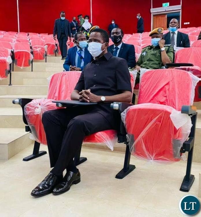 President Edgar Lungu having a feel of the new teaching and learning complex lecture theatre during the commissioning of the state of the art building at UNZA today.Picture by SUNDAY BWALYA/ZANIS