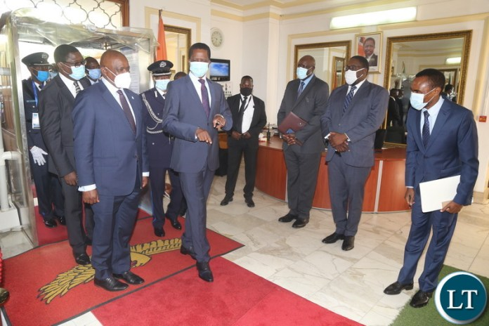 President Edgar Lungu introduces his Special Assistants to his Botswana counterpart Dr.Mokgweetsi Eric Masisi when he paid a courtesy call on him at State House yesterday