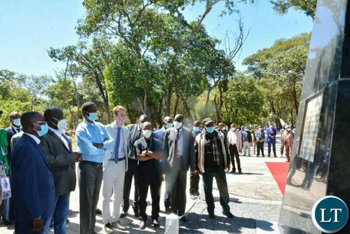 President Edgar Lungu read on the cenotoph when he visited the David livingstone memorial site in chitambo district