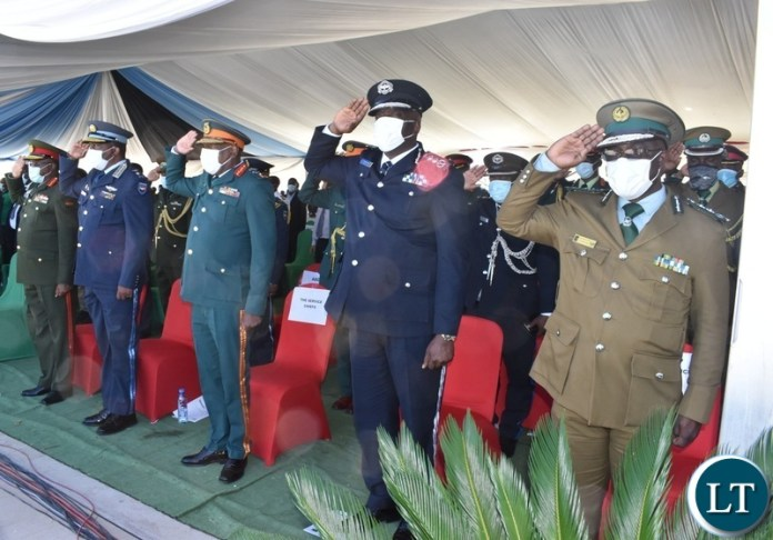 Defence Chief salute as the national anthem was being played during the official opening of Kazungula bridge