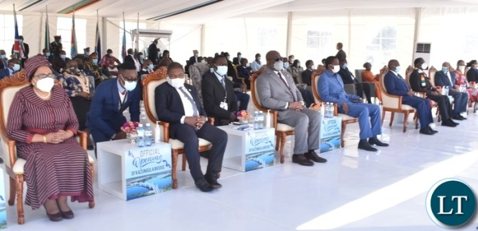 Heads of states follow proceedings during the official opening of Kazungula bridge