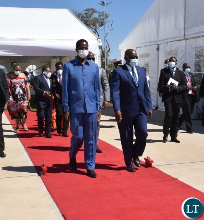 President Edgar Lungu and President of Botswana Mokgweetsi Masisi arriving to officially open the Kazungula bridge