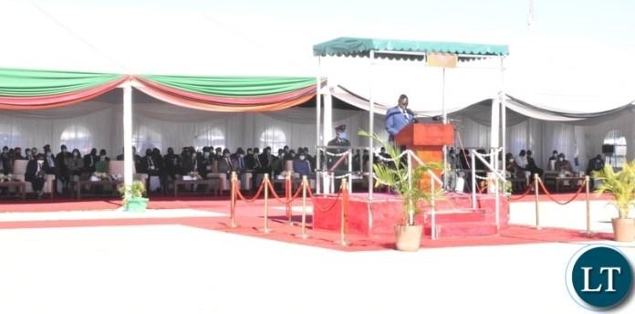 President of Botswana Mokgweetsi Masisi delivering his speech during the official opening of the Kazungula bridge
