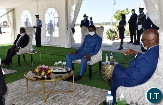 President of Botswana Mokgweetsi Masisi welcoming President Edgar Lungu and Mozambican President Flipe Nyusi in Kasane during the official opening of the Kazungula bridge