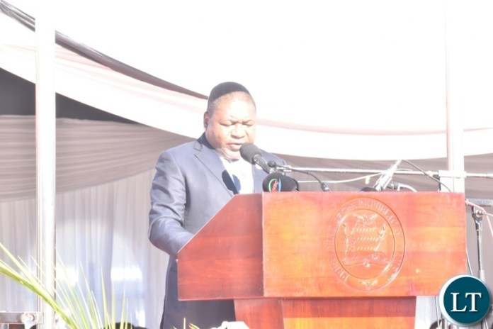 President of Mozambique Filipe Nyusi delivering his speech during the official opening of Kazungula Bridge