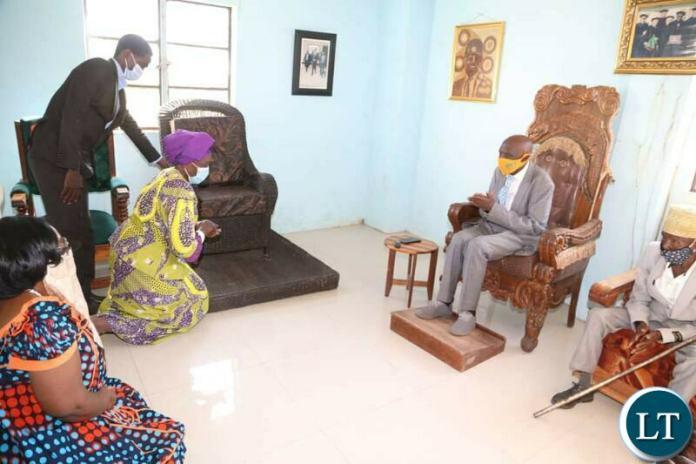 Vice President Inonge Wina and President Edgar Lungu decision Professor Nkandu Luo paying a courtesy call on Paramount Chief Chitimukulu of the Bemba speaking people