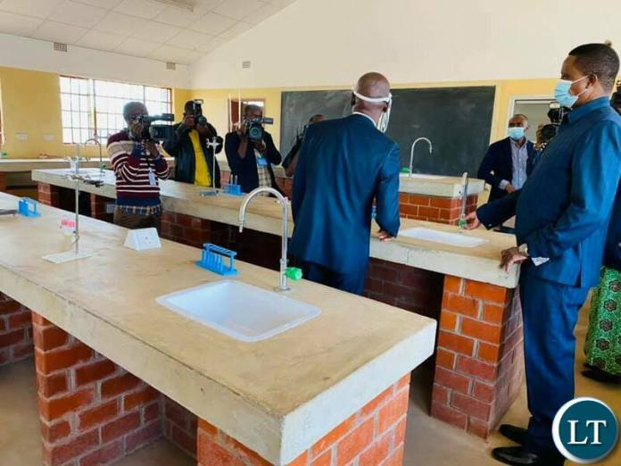 President Lungu inspecting Kafunkha Day Secondary school in Katete district, Eastern Province
