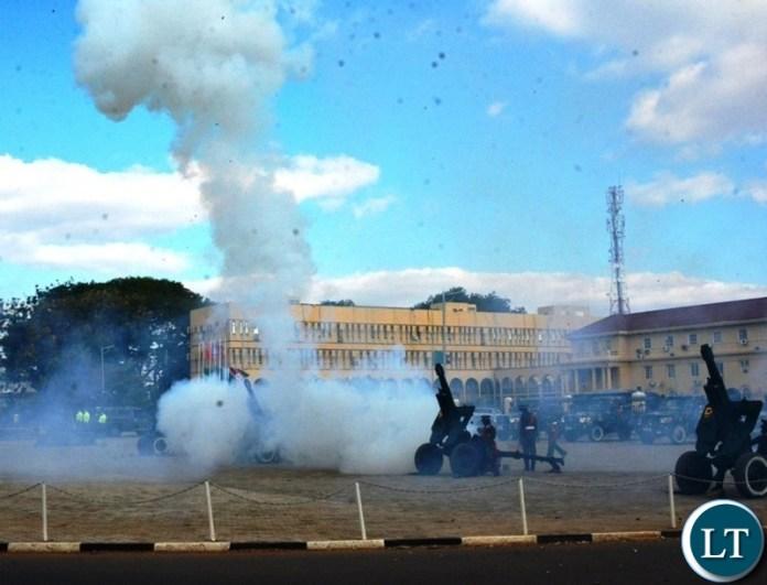 The Firing of the 21 gun salute accorded to President Kaunda