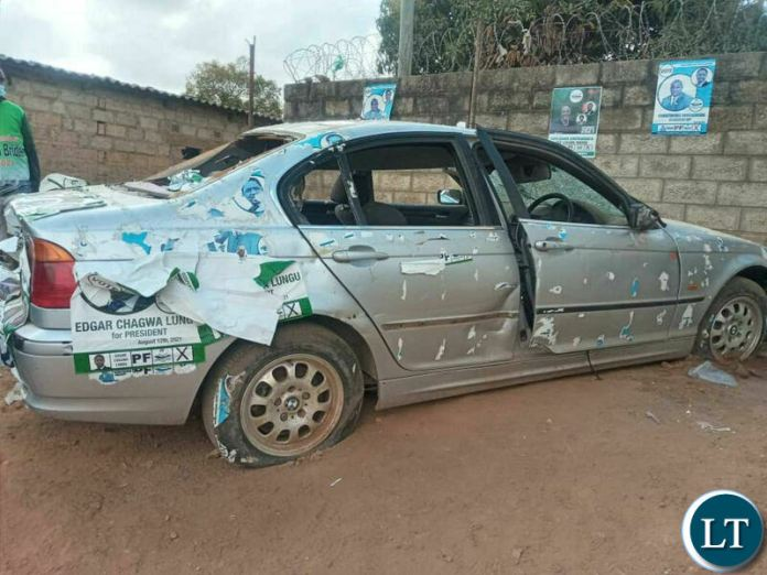 The BMW vehicle which was damaged by UPND cadres last month