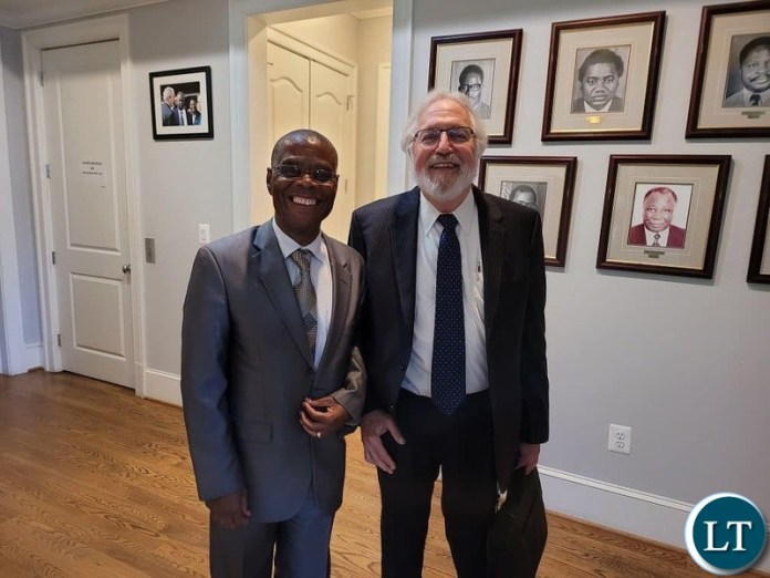 Zambia's Ambassador to the United States H.E. Lazarous Kapambwe with Dr Irving Mintzer
