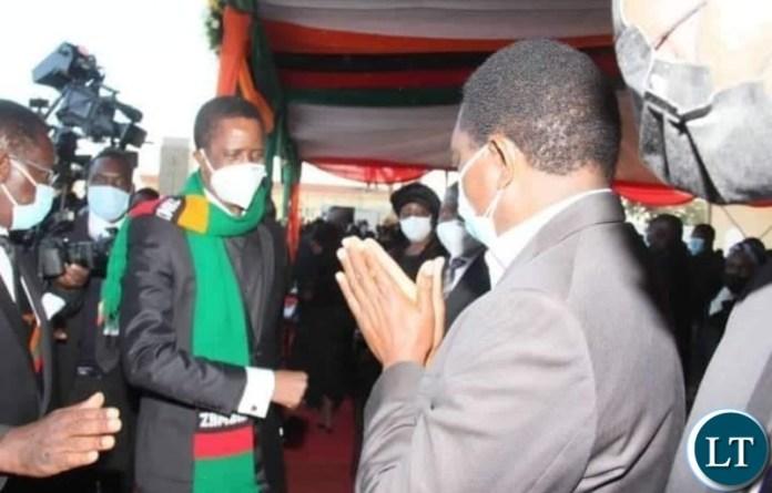 President Lungu meeting UPND leader Hakainde Hichilema at the Funeral of the late President Kenneth Kaunda