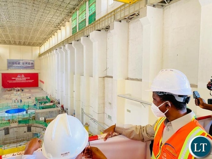President  Edgar  Lungu  commissioning  the first 150 megawatts turbine at Kafue Gorge Lower