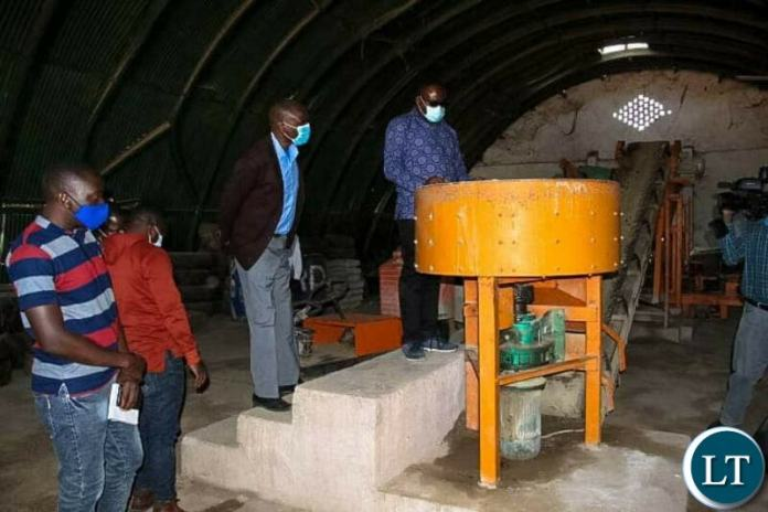 Paver making machine donated to Pavco Enterprise, a youth group owned company in Mansa district in Luapula Province