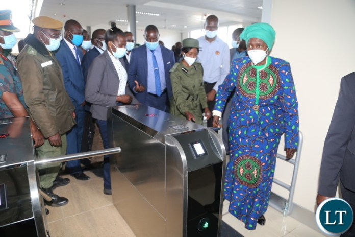 Vice President Inonge Wina inspecting the newly commissioned livingston intercity bus station during her two day working visit yesterday. Saturday, August 07, 2021. Picture by ROYD SIBAJENE/ ZANIS