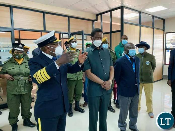 President Lungu at the newly constructed Zambia Revenue Authority office complex in Chinsali.