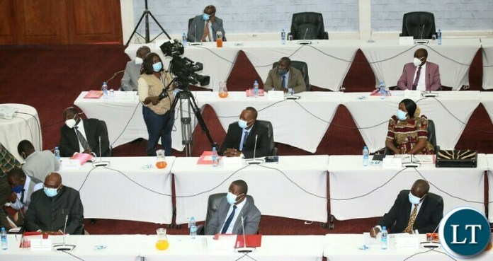 Cabinet Ministers and Provincial Ministers following the proceedings of President Hikainde Hichilema induction of Cabinet Ministers and Provincial Ministers at Mulungushi Conference Centre. Monday, September 13, 2021.  Picture by ROYD SIBAJENE/ZANIS