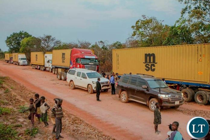 Trucks at the ZAPID Farms awaiting for clearance from the Ministry of Lands.