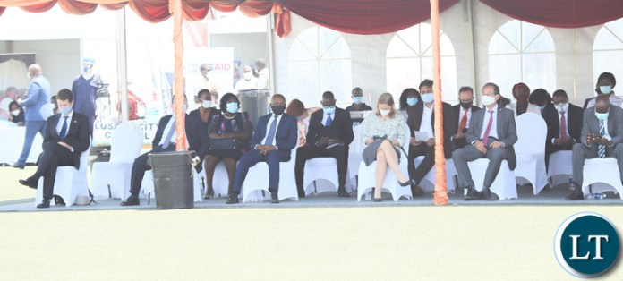 Diplomts accredited to Zambia following the proceeding during the relaunch of COVID-19 vaccine at OYDC