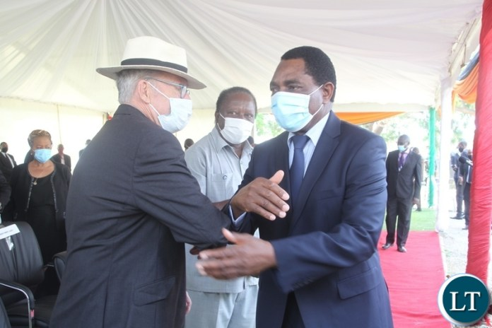 PRESIDENT Hakainde Hichilema is welcomed by former Vice- President President Guy Scott at the burial and Funeral Service of the Late former Cabinet Minister Hon. Simon Ber Zukas in Lusaka.