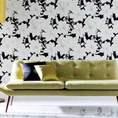Black And White Wallpaper Ideas For Living Room Minimalist Furniture Modern Interior Decorating Design