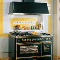 Vintage Kitchen Stoves Nook Style Table Retro Design For Modern Kitchens In Styles Black Stove And Yellow Wall Tiles