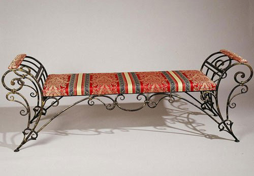 wrought iron chair rustic dining chairs furniture and benches modern interior bench with striped red cushion