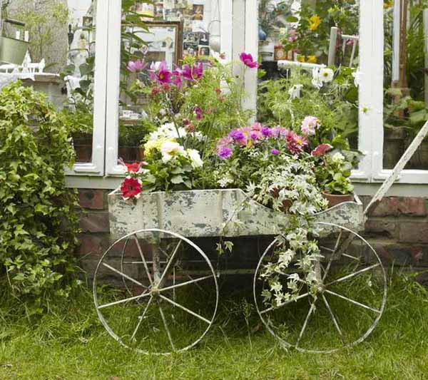 vintage furniture and garden decor